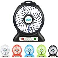 COO Mini USB 3 Speed Rechargeable Portable Fan with Power Bank and Flashlight (Black)