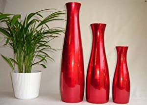 Wooden vase 45cm tall slender in hot cherry red colour lacquerware