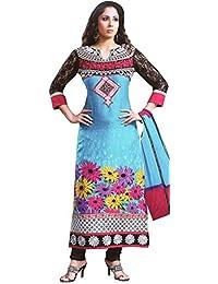Exotic India Cyan-Blue And Black Printed Long Choodidaar Kameez Suit With - Blue