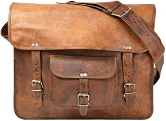 "Gusti Leder nature ""Bob"" Genuine Leather Messenger Large Shoulder Satchel Cross Body Bag College University Office 14"" Laptop Smart Bag Unisex Brown U23"