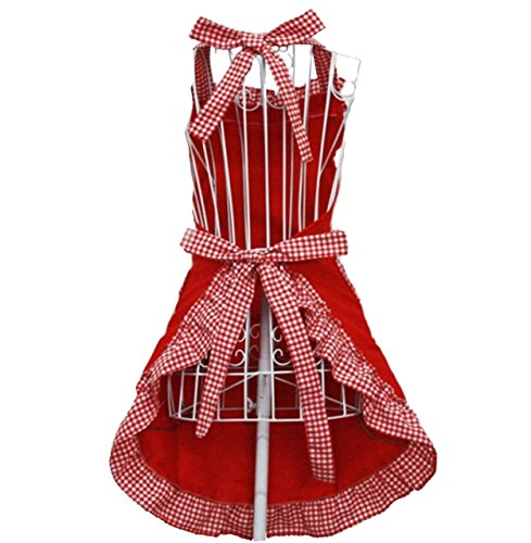 Hyzrz Cute Red Cotton Flirty Womens Aprons Fashion for Girls Vintage Cooking Retro Apron with Pockets Special 4
