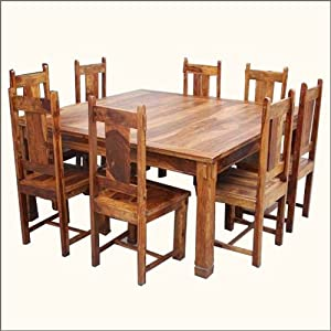 Large Rustic Square Santa Cruz Dining Table And Chair Set Home