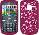 Pink Flora Soft Silicone Gel Case Cover For The Nokia C3 / C3-00