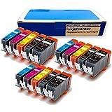 Inkjetcorner 15 Pack Canon PGI-250XL BK CLI-251XL BK C M Y Compatible Ink Cartridges NEW CHIPS for Canon Pixma IP7220 MG5420 MG5422 MG5520 MG6320 MX722 MX922