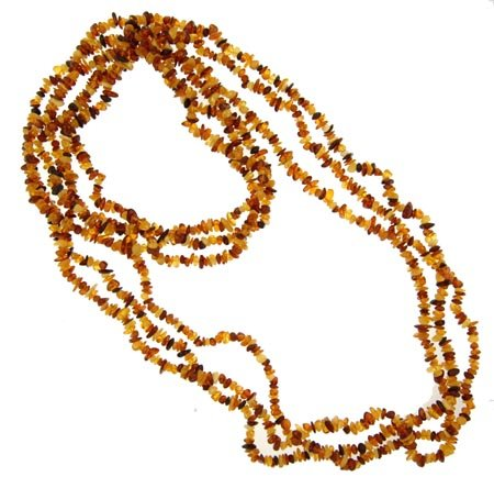 3 Strands of Light-Dark Baltic Amber Chips - 34 Inches