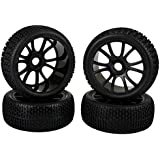 Sky Q 12 Spoke 17mm Hub Wheel Rims And Tires For 1:8 Off Road Rc Car Buggy Black Pack Of 4
