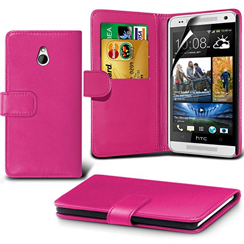 Fone-Case ( Hot Pink ) Htc One Mini Faux Stylish Pu Leather Wallet Credit / Debit Card Flip Case Skin Cover With Screen Protector Guard