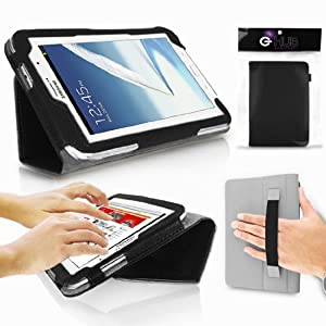 SAMSUNG Galaxy Note 8.0 Tablet Case - G-HUB BLACK PropUp Stand Case Cover (with integrated stand function and hand strap) for SAMSUNG Galaxy Note 8.0 N5100 / N5110 - Fits All Versions (16GB, 32GB, 3G/LTE, WiFi) with Magnetic Sleep Sensor