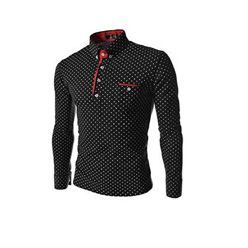 Towallmark(Tm)Fashion Men Polka Dot Slim Fit Long Sleeve T-Shirt Polo Shirt (S, Black)