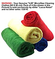 """""""VJR"""" Microfiber Cleaning Clothes [40 X 40 cm]- Pack of 4 [Red/Blue/Green/Yellow] Colours Perfectly Fits Your Specific Cleaning Needs - Super Soft, Gentle, Ultra-Fine Micro Fibre Clothes Makes Easy Cleaning, Polishing and Removing Your Dirt from Car, Bike"""
