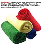 """VJR"" Microfiber Cleaning Clothes [40 X 40 cm]- Pack of 4 [Red/Blue/Green/Yellow] Colours Perfectly Fits Your Specific Cleaning Needs - Super Soft, Gentle, Ultra-Fine Micro Fibre Clothes Makes Easy Cleaning, Polishing and Removing Your Dirt from Car, Bike, Electronic Equipment's and Even Use the Cloth to Clean and Wipe Your Glasses, Mirrors, Stainless Steel Items - Perfectly Fits Your All Day to Day Cleaning activities At Your Home Kitchen, Living Room, Dining Room, Outdoor/Indoor Furniture's and so on - Guarantee You Will Be Happy With Your Purchase - Free Delivery"