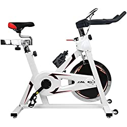 JLL® IC300 Indoor Cycling exercise bike, Fitness Cardio workout with adjustable resistance,18Kg flywheel which allows a smooth ride,Ergonomic adjustable handle bar and fully adjustable seat.12 months warranty (White)