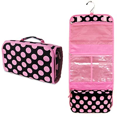 Black With Pink Polka Dots Hanging Travel Toiletry Cosmetic Bag by Toiletry Bags