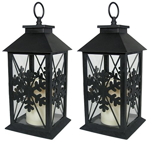 "Christmas Lanterns - Set of 2 Black Lanterns with Snowflake Design - LED Pillar Candle with 5 Hour Timer Included - LED Lantern - 13""H"