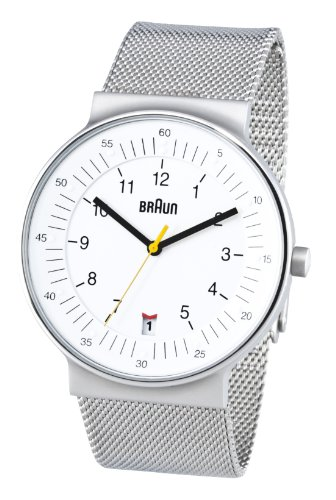 Braun Men's Quartz 3 Hand Movement Watch BN0082WHSLMHG With Mesh Bracelet