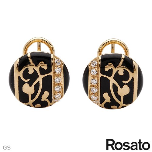 ROSATO Made in Italy Attractive Earrings With Cubic zirconia Well Made in Black Enamel and 14K/925 Gold plated Silver. Total item weight 6.2g Length 14mm