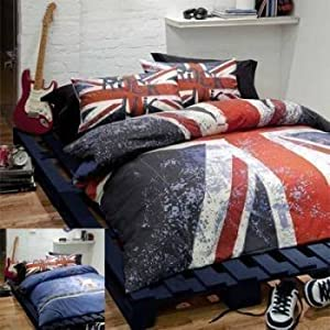 pcj housse couette taie drapeau britannique rouge bleu lit 1 pers licence cuisine. Black Bedroom Furniture Sets. Home Design Ideas