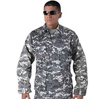 Subdued Urban Digital Camouflage Military BDU Fatigue Shirt (Small)