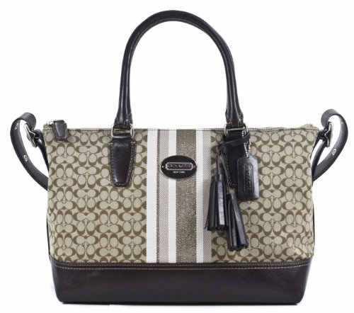 8c0349cbfbb The Features COACH Legacy Signature Stripe Molly Satchel Shoulder Bag 21154  Khaki Mahogany -
