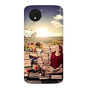 Wonderful Cute Book Girl Back Case Cover for Micromax Canvas A1