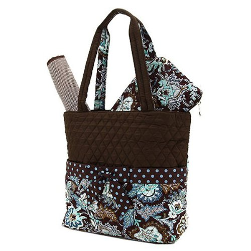 Belvah Quilted Floral Diaper Bag - 3 Pc - Brown/Turquoise