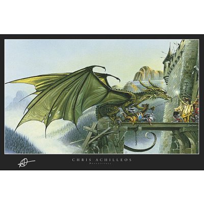 Dragonspell - Fantasy Poster (Dragon Attacking Castle) (Size: 36 x 24) Poster Print by Chris Achilleos, 36x24