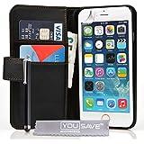 Yousave Accessories iPhone 6 Tasche Schwarz PU Leder Brieftasche Hülle Mit Griffel Stift
