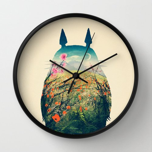 Totoro Studio Ghibli wall clock black society 6 design parallel imports * same-day delivery