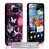 Samsung Galaxy S2 Pink And Black Floral Butterfly Silicone Caseby Yousave Accessories