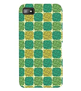 Printvisa Premium Back Cover Green And Yellow Square Pattern Design For Blackberry Z10