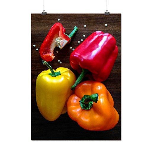coloré Doux Poivre rouge Jaune Matte/Glacé Affiche A2 (60cm x 42cm) | Wellcoda