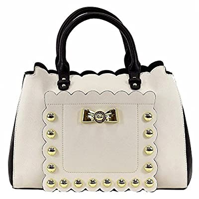 Betsey Johnson Women's Studded Affair Cream Satchel Handbag