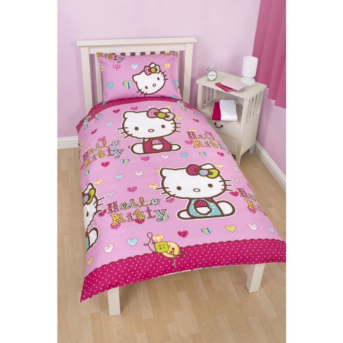Girls Hello Kitty Reversible Folk Single/Twin Duvet Cover And Pillowcase (Twin Bed) (Pink) front-30025