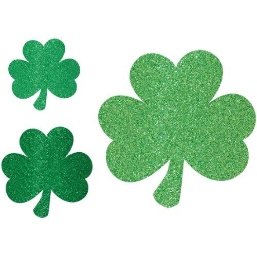 St Patrick's Glitter Shamrock Cutouts