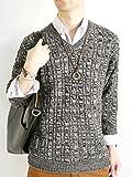 (モノマート) MONO-MART MONO-MART 8color ケーブル編み バルキー ニット セーター 暖 Vネック デザイナーズ メンズ 秋 冬 杢ブラック Lサイズ