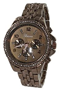 107 Women's Geneva Chocoloate Boyfriend Style Watch with Chrono Design