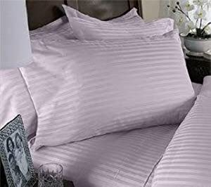 100% Egyptian Cotton 600TC Sateen Stripe Pillowcase Standard Lavender (set of 2) BY HOMESPELL