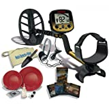 "Fisher Gold Bug DP Metal Detector W/11"" DD Waterproof Search Coil, Gold Pan Kit, Headphones, Finds Apron, Treasure Trowel"