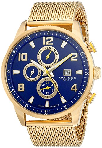 akribos-xxiv-mens-swiss-quartz-watch-with-blue-dial-analogue-display-and-gold-stainless-bracelet-ak7