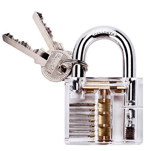 G2PLUS Transparents Schloss Schlössern Vorhängeschlösser Übungsschloss mit 2 Stabilen Schlüsseln für Schlosser Anfänger thumbnail