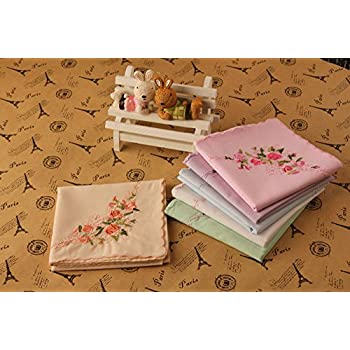 La Closure Vintage Floral Cotton Embroidered Ladies Handkerchiefs Pack