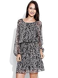 Vaak Long Sleeve Printed Dress Black-XXL