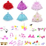 MagiDeal 6 Pieces Fashion Wedding Dresses Party Dresses Clothes Gown + 80Pcs Doll Accessories Shoes Glasses For Barbie Dolls Girls Toys Xmas Gifts