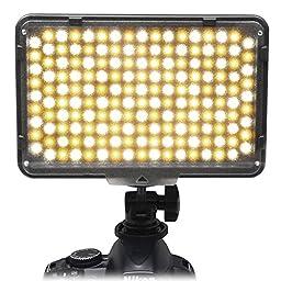Mcoplus 168 Bi-Color LED Dimmable Digital Camera / Camcorder Video Panel LED Light for Canon Nikon Pentax Panasonic SONY Samsung Olympus DSLR Cameras DV Studio Photography