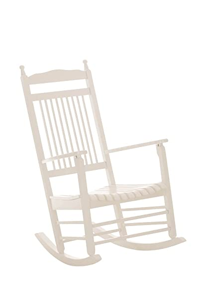 Holz- Schaukelstuhl in weiß Relaxstuhl Sitzschaukel SCHWINGSTUHL mit Armlehne
