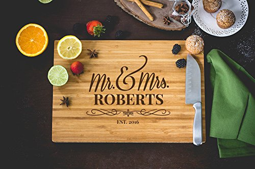 Flourish Script Mr and Mrs Laser Engraved Cutting Board, 15