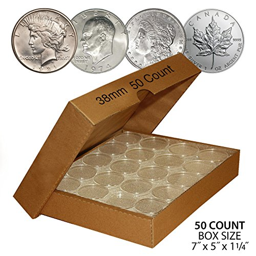 50-PEACE-DOLLAR-Direct-Fit-Airtight-38mm-Coin-Capsule-Holder-QTY-50-with-BOX