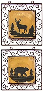 Quality Bear & Deer Lodge Wall Plaques Signs Set of 2 Home Cabin Decor