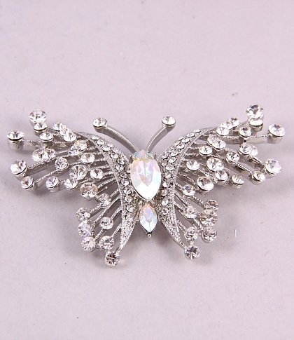 Clear Rhinestone Crystal Butterfly Brooch Pin~fashion Jewelry