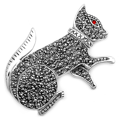 Sterling Silver Brooches Cat Ruby CZ Brooche